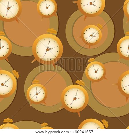 Vector seamless with clock and circles in brown.
