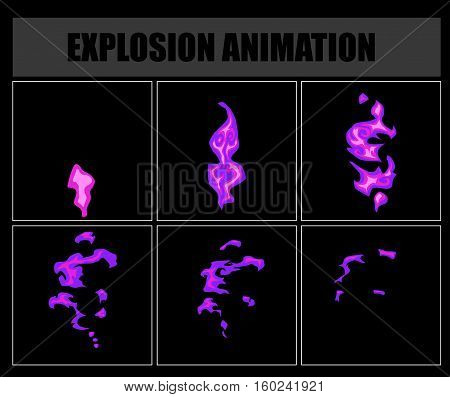 Fire sprites or animation frames icons. Use in game development, mobile games or motion graphic. Vector illustration