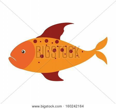 colorful silhouette with sea fish yellow and fins red and dots vector illustration