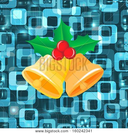 Christmas bells. Vector illustration with lights in blue.