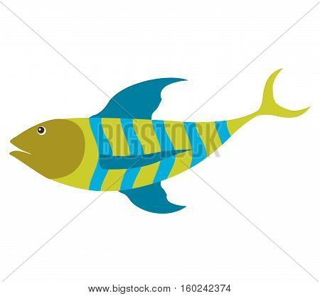 colorful silhouette with sea fish green and blue stripes vector illustration