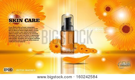 Moisturizing Lotion cosmetic ads template. Hydrating Skin Protection. Mockup 3D Realistic illustration. Flowers Sparkling background