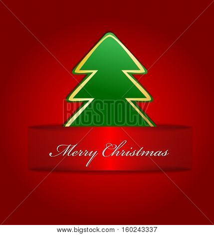 Christmas card with place for text in red.