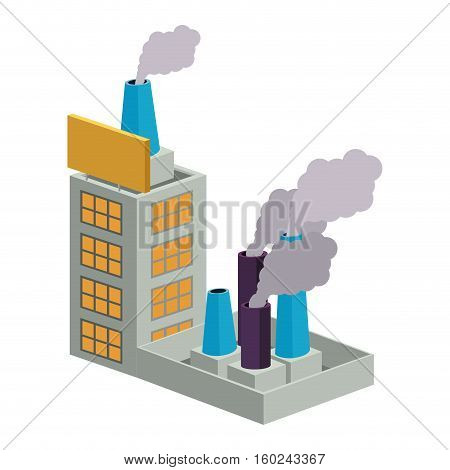 colorful building industrial with several fireplaces vector illustration