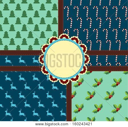Four Christmas background. Vector seamless for your design.