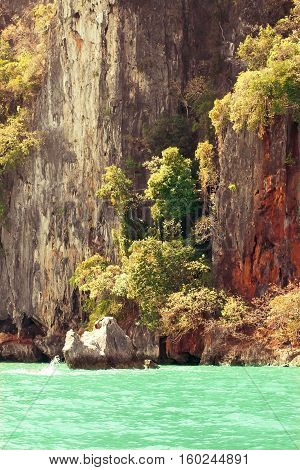 Rock Island in the sea in Thailand. Sea and island.
