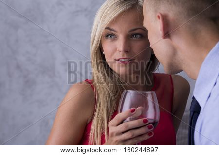 Woman In Red Dress And Boyfriend