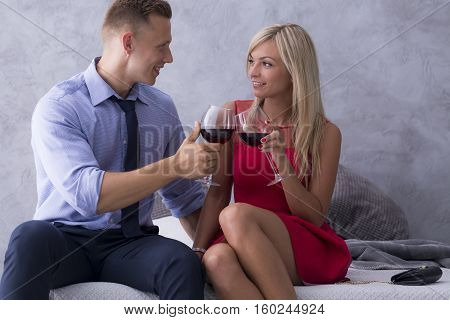 Elegant Couple Drinking Wine