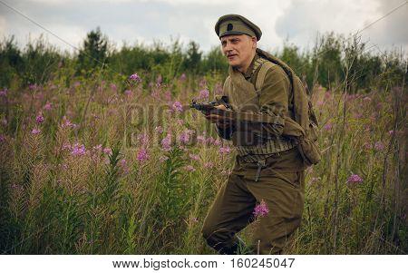 POKROVSKOE SVERDLOVSK OBLAST RUSSIA - JULY 17 2016: Historical reenactment of Russian Civil war in the Urals in 1919.