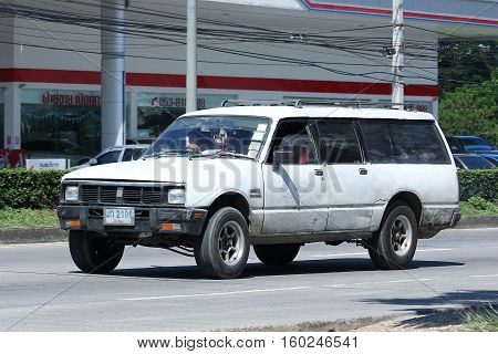 CHIANG MAI THAILAND - OCTOBER 31 2016: Private Isuzu Old Pickup Van car. Isuzu KB Van. On road no.1001 8 km from Chiangmai city.
