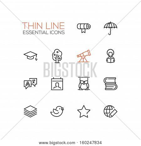 Education - modern vector simple thin line design icons and pictograms set. Scroll, umbrella, academic cap, tree, telescope, student, owl, books, translation, guides bird star globe