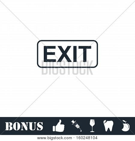 Exit icon flat. Vector illustration symbol and bonus pictogram
