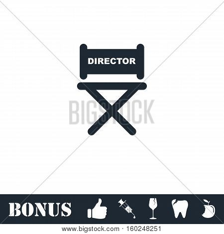 Director chair icon flat. Vector illustration symbol and bonus pictogram