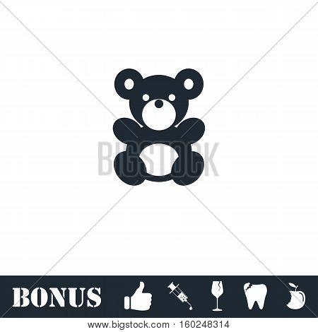 Teddy Bear icon flat. Vector illustration symbol and bonus pictogram