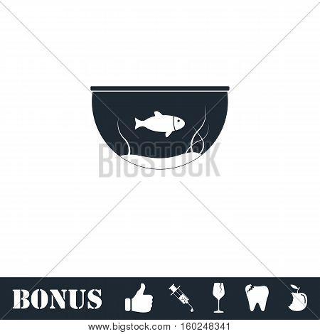 Fish aquarium icon flat. Vector illustration symbol and bonus pictogram