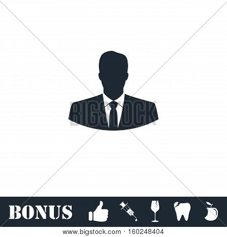 Businessman icon flat. Vector illustration symbol and bonus pictogram