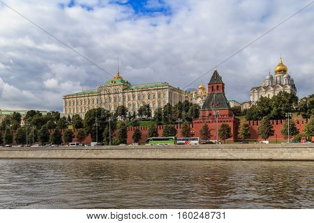 The architectural ensemble of the Grand Kremlin Palace, view from the quay
