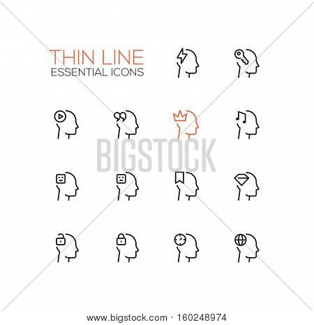 Thoughts Signs in Heads - modern vector simple thin line design icons and pictograms set. Head with flashlight, key, play button, quotes, crown, music, ribbon, diamond, lock, clock, globe