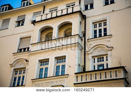 old house in munich - macro, Old building with balcony, in Munich