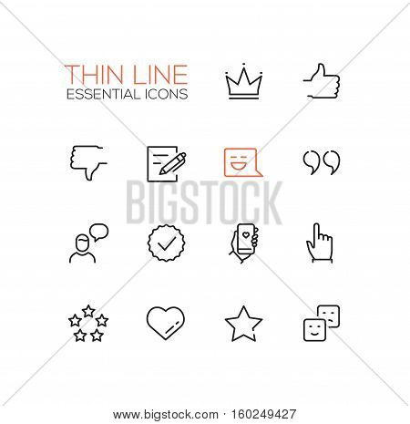 Social Network Signs - modern vector simple thin line design icons and pictograms set. Crown, like, dislike, post, message, quote, chat, check, phone, click star heart emoticon