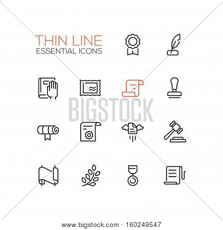 Law and Justice - modern vector simple thin line design icons and pictograms set. Badge, quill, oath, stamp, document, scroll, seal, gavel, medal, laurels