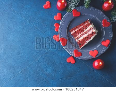 Red Velvet Cake Slice For Valentines Day Dessert