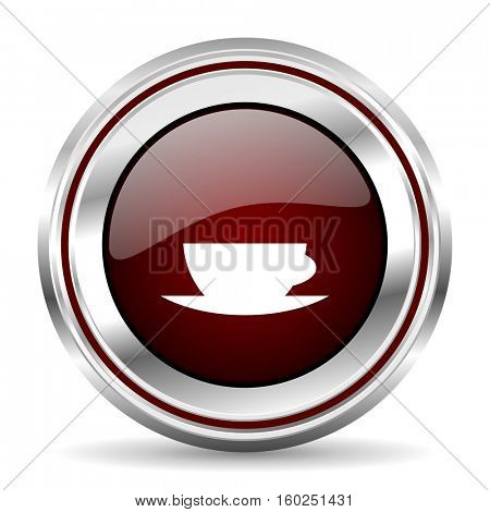 espresso icon chrome border round web button silver metallic pushbutton