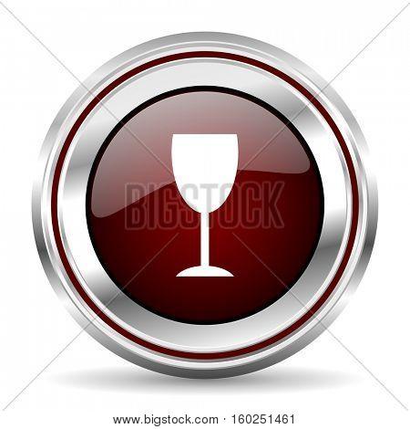 alcohol  icon chrome border round web button silver metallic pushbutton