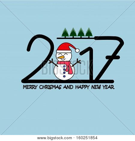 merry chrismas and Happy new year 2017 Text Design vector