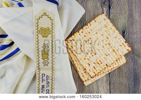 Jewish holiday Jewish passover Still-life with wine and matzoh jewish passover bread