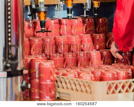 Hamburg - December 04, 2016: Mulled wine drink to a Christmas fair in Hamburg