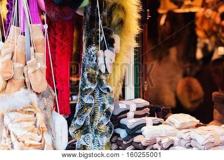 Hamburg - December 04, 2016: Fur accessories on a Christmas market in Hamburg
