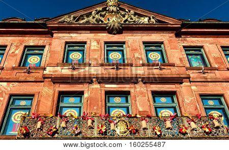 Town Hall windows in Hanau as a traditional Christmas calendar, Germany