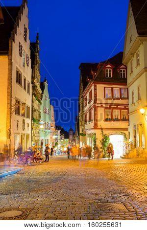 night street in Rothenburg ob der Tauber, Germany