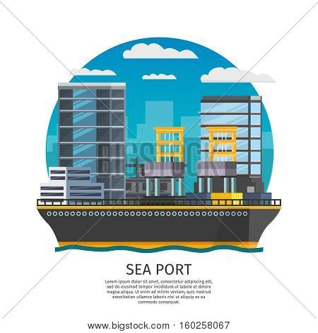 Sea port and freight boat design including harbor facilities and city modern buildings vector illustration