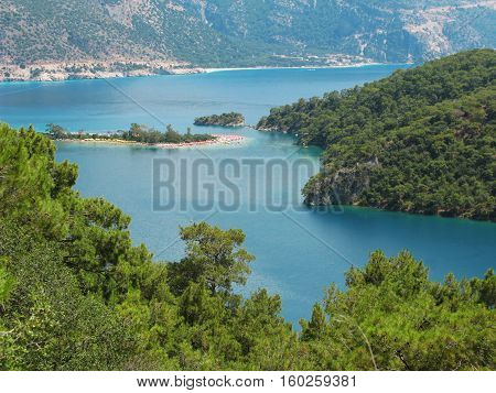 panorama of oludeniz lagoon in sea landscape view of beach