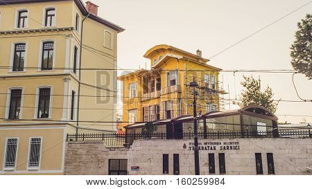 Istanbul Turkey - September 13 2016: Beautiful yellow wooden old building in Fatih.