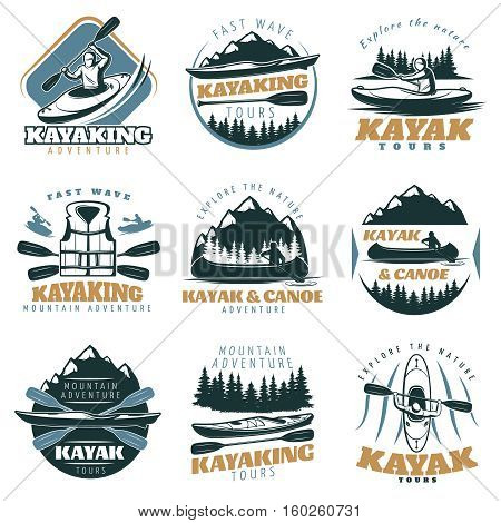 Nine isolated colorful emblems set with kayak and canoe mountain tours with adventure tours retro symbols vector illustration