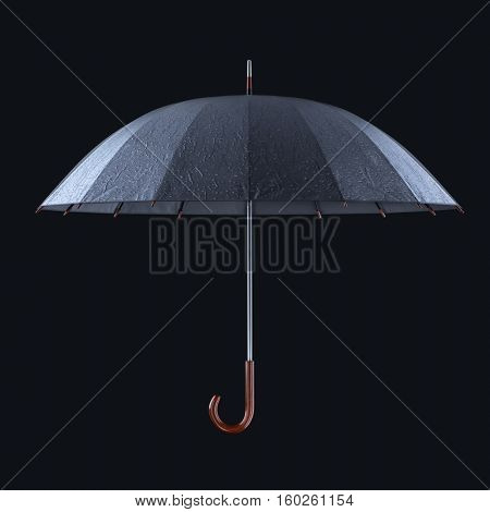 Umbrella with rainy drops isolated on dark background. 3D illustration