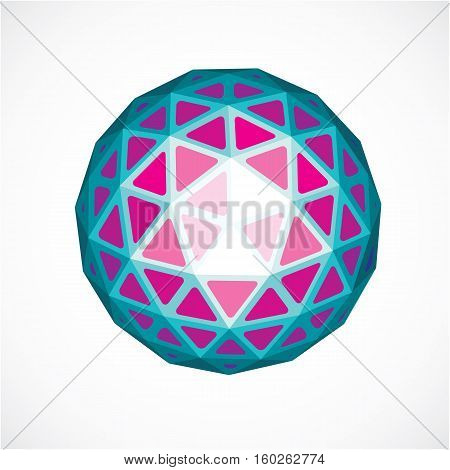 Purple Faceted Orb Created From Triangles, Dimensional Vector Sphere. Low Poly Geometric Design Elem