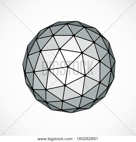 Monochrome Dimensional Vector Low Poly Object, Trigonometry Shape. Technology 3D Spherical Element M