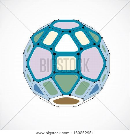 3D Vector Digital Wireframe Spherical Object Made Using Facets. Geometric Polygonal Colorful Ball Cr
