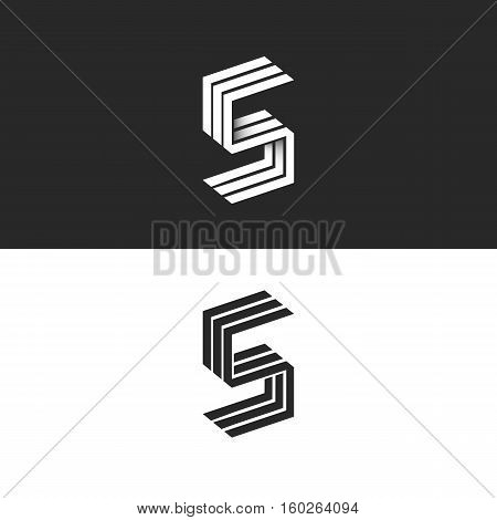 Letter S Logo Isometric Black And White Typography Design Element, Hipster Minimalistic Symbols Init