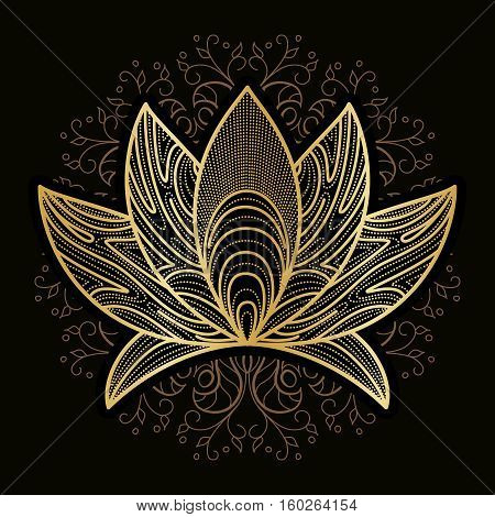 Hand drawn henna flower lotus elements, yoga design.Mehendi Tattoo Doodles collection, monochrome, meditation aura.Vector illustration.