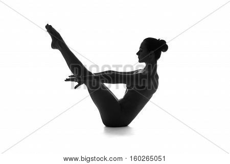 Nude yoga artistic photos of beautiful sexy body of young woman with perfect figure isolated on white background studio shot