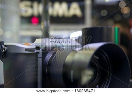 December 2 2016. Close-up detail of a Hasselblad X1D a mirrorless medium format camera on display at a Thai consumer electronics show. Bangkok Thailand.