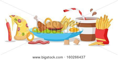 Tasty fast food banner. French fries, hot dog, pizza, cola, hamburger, fried eggs, chicken leg, bacon, cereals. Different fast food products on table. Fast food menu Vector illustration