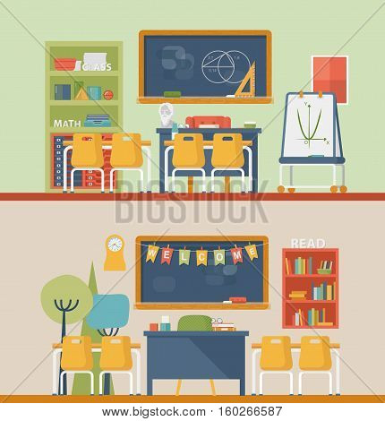 Classroom for literature and mathematics with blackboard. University or school classroom for teacher and education of children. May be used for graduation or education, pedagogic classroom interior
