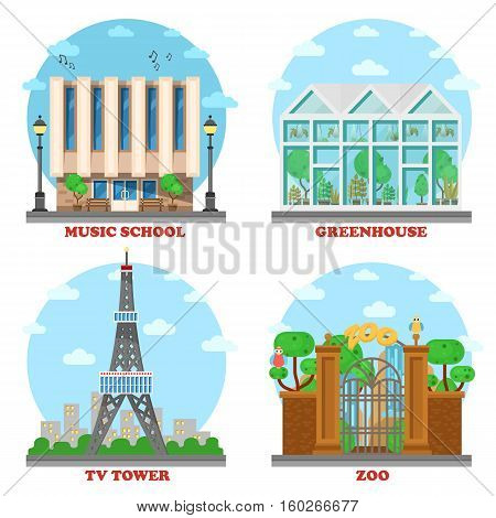 TV station and music school, zoo, greenhouse architecture. Facade with entrance for ecology green house and television tower building, animal zoo structure and music school building.Architecture theme