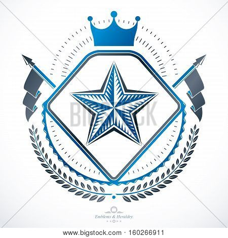 Vintage decorative heraldic vector emblem composed using royal crown and pentagonal star